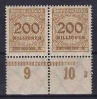 DR Mi Nr. 323 A ** Paar UR mit PN, Infla Rosette 1923, postfrisch, MNH