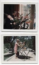 Lot 2 Photos Couleur Polaroïd - Bouquet de fleurs Composition Femme Vers 1960