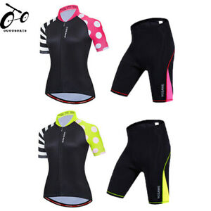 Ladies Summer Cycling Clothing Set Comfort Jersey Padded Shorts Kit Quick Dry