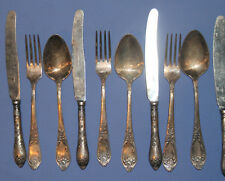 Antique Russian flatware floral silver plated set 6 spoons 6 knives 6 forks