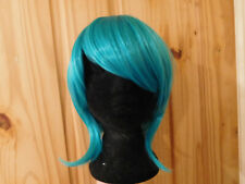 PRACTICALLY NEW SHORT TURQUOISE BLUE WIG COSPLAY