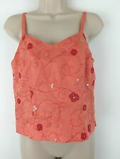 Ann Taylor Women's Sleeveless Embroidered Floral Linen Tank Top Blouse 6 Petites