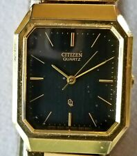 Citizens Quartz Men's Gold Tone Watch, Black Face, Vintage in Original Box