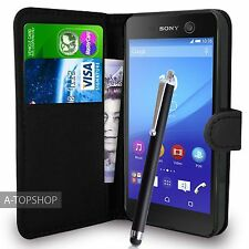 étui portefeuille noir Cuir PU Couverture Du Livre Pour Sony Xperia M5
