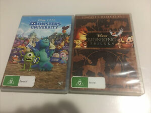 RARE! Disney Lion King Trilogy + Monsters University Pixar Movie Collection DVD