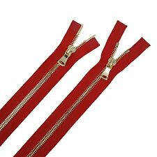 Glossy 5MM or 8MM Teeth Red/Brass Two-Way Separating Open Bottom Jacket Zipper
