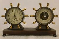 Antique Working CHELSEA Claremont Bronze Ships Wheel Clock & Barometer Desk Set