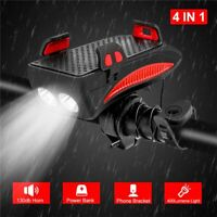 Bicycle Cycling Headlights Phone Holder Power Bank Combo 4 In 1 For Road Bike