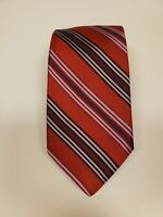 IKE BEHAR Silk Tie. Red with Grey and Purple. Very well made 100% silk