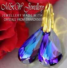 Gold Plated Silver Earrings TEARDROP Heliotrope AB Crystals From Swarovski®