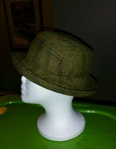 VINTAGE JONATHAN RICHARD IRELAND WOOL WALKING HAT FEDORA MENS S BROWN PLAID