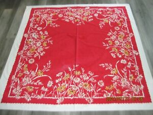 Beautiful Vintage Daisies on Red Tablecloth Queen Anne on Indian Head~Nashua