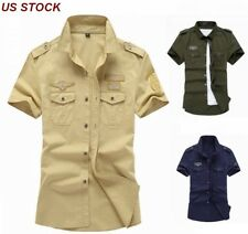 7e83f62c1c7 US Mens Short Sleeve Shirts Army Military 100%Cotton Summer Outdoor Work  shirts