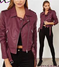 NEW Womens BIKER JACKET Crop FAUX LEATHER Ladies ZIP Coat Size 8 10 12 14 1BLACK