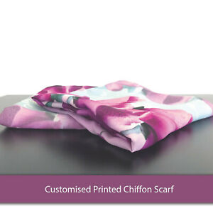 Custom Printed Chiffon Scarf- Edge to Edge Personalised Vibrant Print Lot Multi