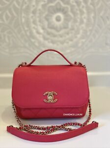 RARE🌸 CHANEL Small Rose Pink Business Affinity  Flap Bag Quilted Caviar Gold HW