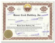 Beaver Creek Distillery, Inc. Stock Certificate