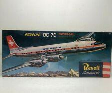 Revell Douglas DC-7C Swissair Model Kit With Swivel Base Stand H-267 Sealed