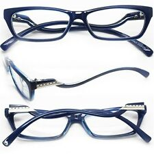 "Reading Glasses ""Italian Curve"" Wiggle Petite Polished BLUE Frame +2.50 Lens"