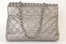 Chanel silver metallic quilted leather CC logo tote shoulder handbag purse $2750