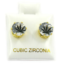 Mens Gold 7mm Round Surgical Steel Clear CZ Hip Hop Black Leaf Stud Earrings