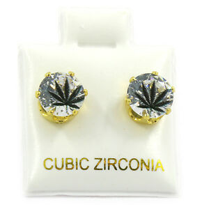 Mens Gold 7mm Round Surgical Steel Clear CZ Hip Hop Black Leaf Stud Earrings