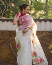 Indian Party Wear Saree Bollywood Designer Saree Moss organza Fancy Flower Saree