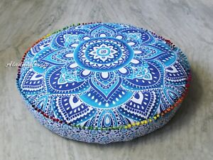 "35X6"" Round Large Floor Cushion Cover Blue White Floral Mandala Pillowcase Throw"