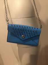 "REBECCA MINKOFF ""STUDDED WALLET ON A CHAIN"" BLUE LEATHER CROSSBODY BAG! JESSLUS"