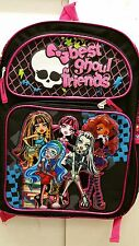 "Monster High 16"" inches Backpack - Best Ghoul Friends - NEW - for Kids Licensed"