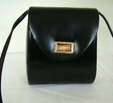 Vintage 80s Menbur black vinyl cross-body shoulder structured box bag