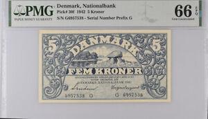 Denmark 5 Kroner 1942 P 30 f Nationalbank GEM UNC PMG 66 EPQ Top Pop