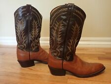 Tony Lama Cowboy Boots Rust Brown Dark Brown Stitched Slant Stacked Heel 10 B