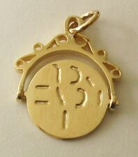 """GENUINE SOLID 9K 9ct Yellow Gold SPINNING """" I LOVE YOU"""" CHARM/PENDANT"""