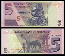 Zimbabwe 5 Dollars 2019 P-NEW UNC