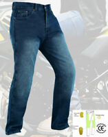 Mens Motorcycle Jeans Motorbike Blue Pants Trousers with CE Armour