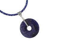 Unisex Lapis Lazuli Donut Artisan Necklace Leather Cord Southwest Reiki Jewelry