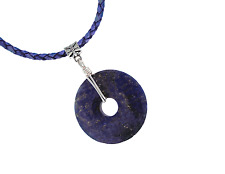 Southwest Lapis Lazuli Donut TRIBAL Pendant Leather Necklace PB19 Gift Box