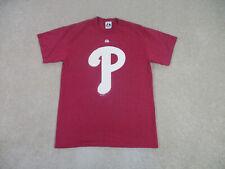 Majestic Philadelphia Phillies Shirt Adult Medium Red White MLB Baseball Mens *