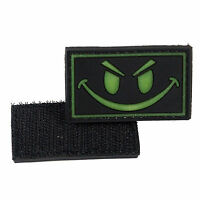 Glow in the Dark Smiley Face PVC Morale Patch 3D Tactical Badge Hook #15 Airsoft