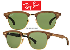 Ray-Ban Sunglasses RB3016M 11824E Clubmaster Wood Brown/Green 100% New/Authentic