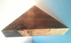 CORNER SHELF - Vintage style Solid Chunky Wood - DARK OAK - LARGE 40CM