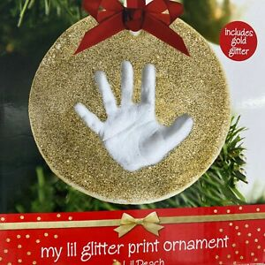 Pearhead Little Glitter Baby Hand Foot Print Hanging Christmas Ornament