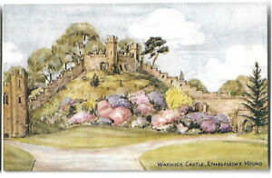 Artist Drawn Postcard J Salmon Unsigned 4423 Warwick Castle Ethelfledas Mound