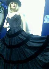 Vintage Couture Frank Starr 40's 50's Dress Evening Gown Black Velvet Small