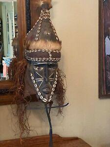 AMAZING vintage 1960 ?? African Kuba Tribal Mask  Congo shells, beads,