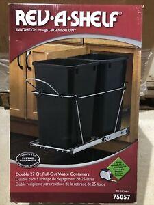 Rev A Shelf Double 27 Quart Undermount Pullout Waste Container RV-15PBC-5