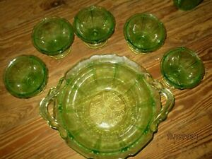 Jeanette Glass - Cherry Blossom Green Vaseline Dessert Set 6 Pcs
