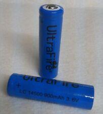 2x ULTRAFIRE 14500 Lithium Ionen Akkus 3,6 Volt 900 mAh AA R6 Mignon Grösse