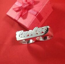 New Name Ring Two Finger Personalized Sterling Silver Any Name *Made in USA*